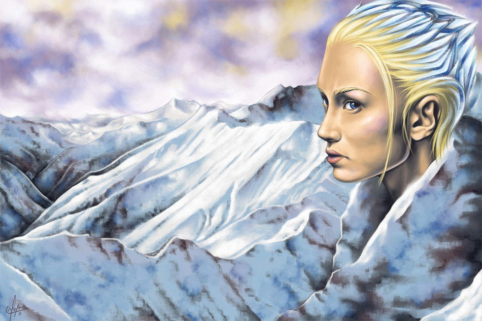 Skadi - Norse goddess of winter snow - digital painting