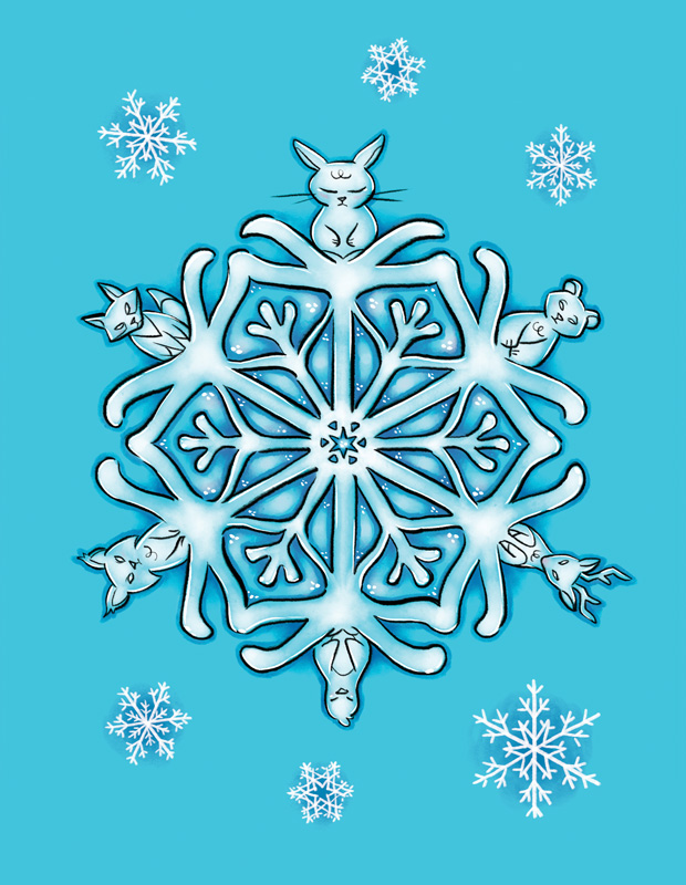 Snowflake Animal Totem postcard illustration