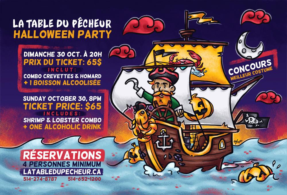 La Table du Pecheur Restaurant Halloween Party Ad