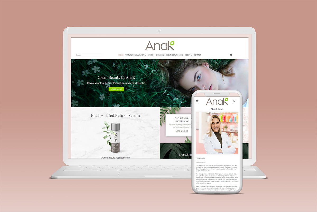 Clean Beauty by AnaK ecommerce Website design and development